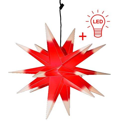 LED WEIHNACHTSSTERN 3D ROT WEISS XL 18 Zacken 65 cm INKL. LEUCHTMITTEL Faltstern Außenstern Adventsstern wetterfest für außen und innen 4m Kabel von Dekowelt