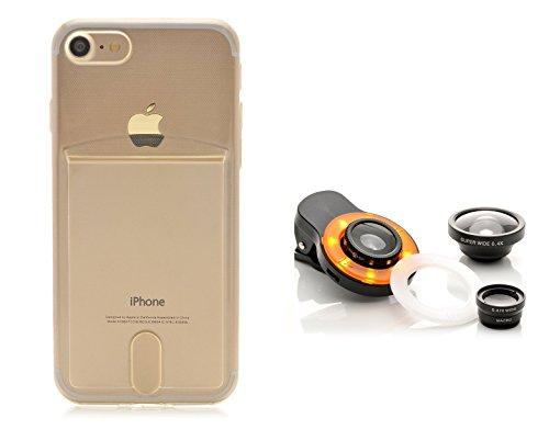 iProtect Kreativ Set Apple iPhone 7 biegsame TPU Soft Case Hülle mit extra Fach für Ihre Polaroid Instax Mini Photos und Kamera Objektiv Linsenset Polaroid-kamera-licht-gelb