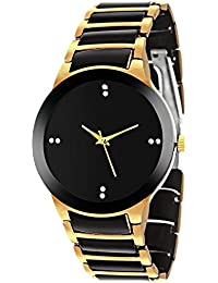 MS ENTERPRISE Analogue Watch For Men Black Dial Gold Color Stainless Steel Metal Strap Stylish Analog Watches...