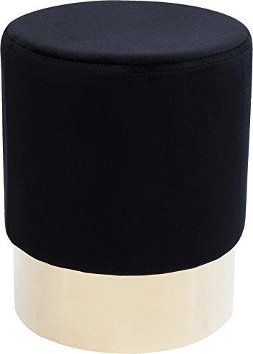 Kare Polsterhocker Cherry Brass, kleiner, moderner Design Hocker mit Samtbezug, rund, Schwarz-messing (H/B/T) 42x35x35cm