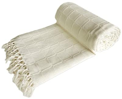 EHC 254 x 279 cm Gaint Cotton Batten Covers Upto 3 or 4 Seater Sofa Throw or Super King Bed Throw, Ivory