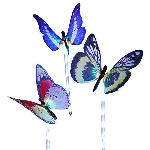 Contever 3pcs Solaire Papillon Lampe Multi-couleur Changeante Fibre Optique Papillon LED Lumières Décoratives pour Jardin Pelouse en Plein Air