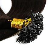 Bonding Extensions Echthaar Remy Haarverlängerung U-Tip 200 Strähnen Keratin Human Hair 100g-50cm(#2 Dunkelbraun)