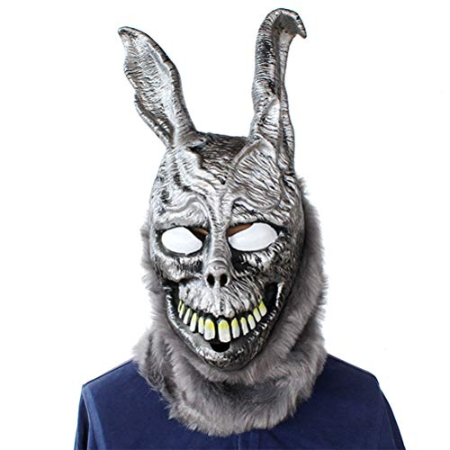 Egosy Frank Rabbit Mask Bunny Latex Vollkopf Cosplay Requisiten für Erwachsene Halloween Fur Hase Helm Cosplay Kostüm Zubehör