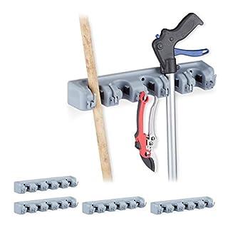 Relaxdays 5 x Gerätehalter Wandhalterung im Set, 25 Klemmhalter, 30 Klapphaken, Universal Werkzeughalter für Wand, 40 cm, PP, grau