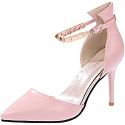 Minetom Damen Mode Knöchel Gurt Stilettos Spitz Zehe Schuhe High Heel Sandalen Rosa 37