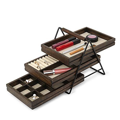 RONGXIN Kosmetische Aufbewahrungsbox, Massivholz Schmuckschatulle Prinzessin Europäische Schmuck Aufbewahrungsbox Geburtstagsgeschenk Holz Ohrringe Einfache Aufbewahrungsbox
