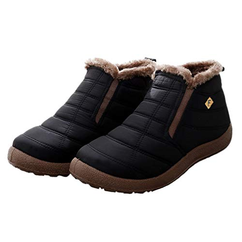 Women Warm Snow Boots Men Slip On Winter Ankle Boots Fur Lined Waterproof Booties Lightweight Casual Walking Sneakers Outdoor Size