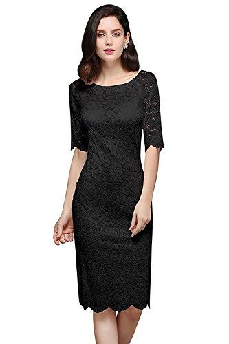 MisShow Damen Spitzenkleid Elegant Abendkleid Etuikleid Cocktailkleid apart Kleid Schwarz Gr.44