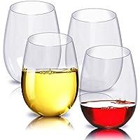 Copas de vino irrompibles, vasos de plástico inastillables e inastillables, taza de plástico reutilizable para fiestas, copas resistentes a la rotura Vasos de beber Vasos irrompibles Copas de vino recicladas Tritan Copas de vidrio a prueba de rotura resistentes a la rotura -Set of 4 (16oz)