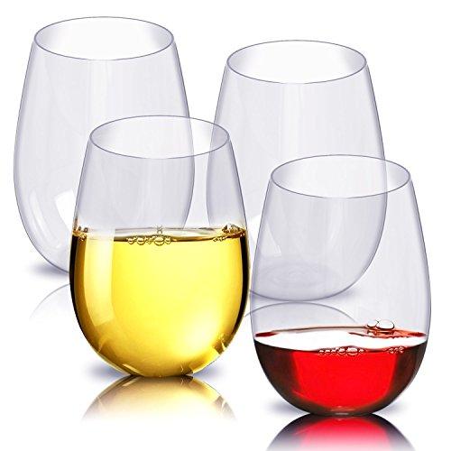 Unzerbrechliches Geschirr Glas (Kunststoff Weingläser, 4er Set, linyingdian Rot Weißwein Stemless Glass - unzerbrechlich - wiederverwendbar - bruchsicher - 16oz 450ml - Gläser für Partys, Hochzeiten, Camping - besser als Acrylgläser)