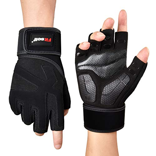 Fitself Fitness Handschuhe Herren Gewichtheben Handschuhe mit Handgelenkstütze für Gym Krafttraining Bodybuilding Workout