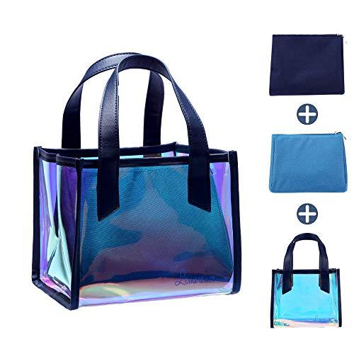 Borsa termica, lunch bag, isolante borsa trasparente, borsa porta pranzo, borsetta olografica, termico borsa olografica multifunzione, trucchi, 3-in-1, blu, limerence jello
