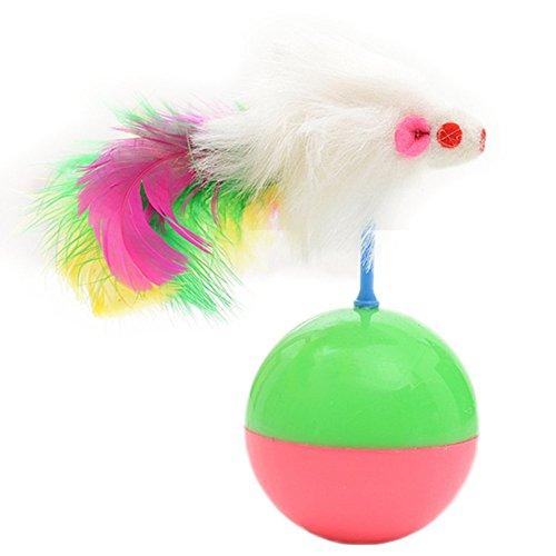 Da.Wa 1 Stück Katze Spielzeug Fell Maus Tumbler Kunststoff Spielzeug Bälle Interaktive Kätzchen Spielzeug Maus mit künstliche -