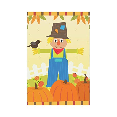 Cute Scarecrow with a Bird on His Arm Polyester Garden Flag House Banner 12 x 18 inch, Autumn Fall Pumpkin Field Decorative Flag for Party Yard Home Outdoor Decor -