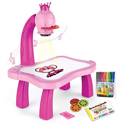 Fantasyworld Child Learning Desk with Smart Projector Kids Painting Table Toy with Light Music Children Educational Tool Drawing Table