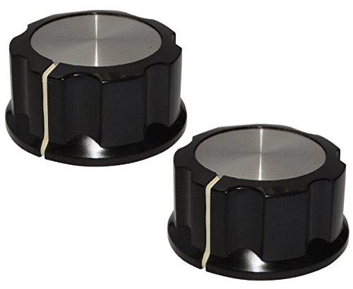 Aerzetix 2 Potentiometer Knöpfe für glatte Achse 6.35mm Ø29,6x16mm schwarz / silber Bakelit