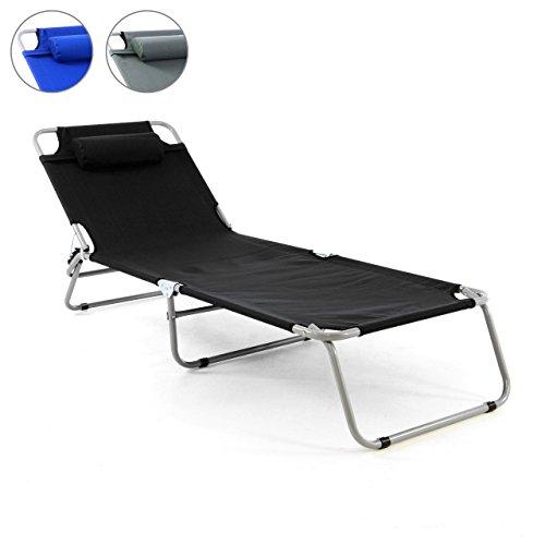 Nexos Gartenliege Camping Liege Schwarz 190x63x28 cm mit Kopfkissen Sonnenliege klappbar 4fach Verstellbar Stahlrohrrahmen Grau Dreibeinliege Wetterfest Robust Stabil