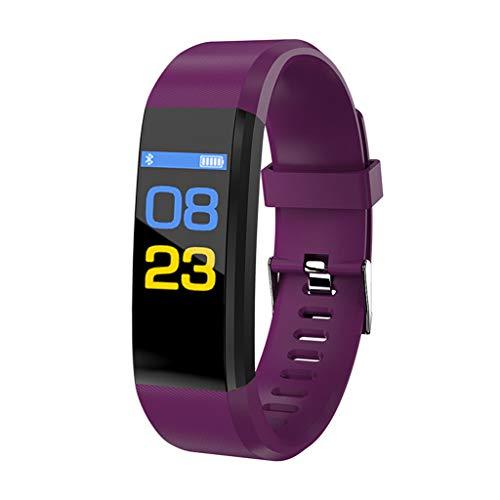 KLAYL Reloj Inteligente Nuevo 115 Plus Smart WristbandFitness Tracker Monitor de Ritmo cardíaco Presión Arterial Smartwatch Sport Reloj Inteligente a Prueba de Agua, púrpura