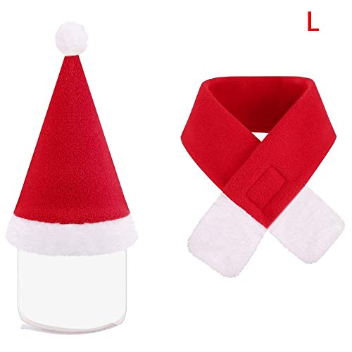 Merssavo PET Christmas custome hat Schal Cats Hunde Festival Outfit WeihNachts-Kostüm-Accessoires Party Cosplay Pet Supplies (L)