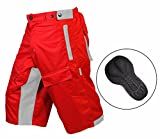 Select MTB Mountain Bike Baggy Shorts with Lycra CoolMax Padded Liner (Red/Grey, X-Large)