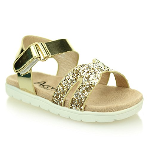 Mädchen kinder abend komfort flache sandale schuhe größe (Light Gold, (Ferse Für Schuhe Riemchen Gold Mädchen)