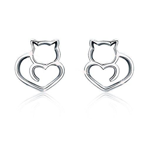 Pendientes de gato de plata de ley 925 con diseño de animale para mujeres y niñas, regalo de cumpleaños para ella