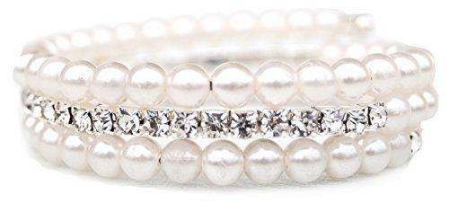 Armband Armreif Strassarmreif Perlen Strass Brautschmuck Hochzeit Braut Party (Armreif-perlen-armband)