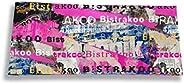 Porte-chéquier long horizontal à rabats pour femme, Porte-chéquier correspondance femme Motif Street art Bistr