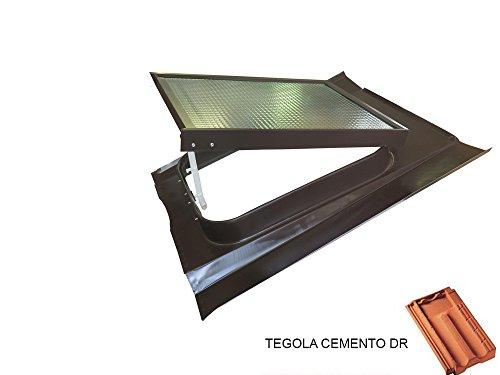 Lucernario Vetro Retinato Modello 45X60 Telaio Acciaio verniciato Testa di Moro Apertura Vasistas Luxtig KVP