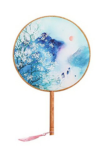 Spicy Meow Chinesische Runde Hand Fan Bamboo Griff Fotografie Tanzen Fan Romantische Mond Druck