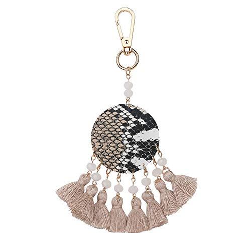 selanhänger, Schlangenhaut-Print, runder Anhänger, Quaste, Perlen, Schlüsselanhänger, Ring, Taschen-Ornament, camel ()
