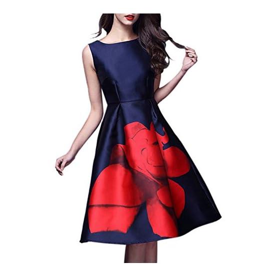 9839ca1fa iBaste Vestido de estilo Vintage Hepburn Tela de Seda y Satén con Cuello  redondo Impresión de Rosa roja Vestido acampanado sin mangas ...