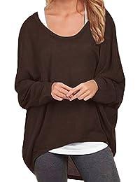 ZANZEA Damen Lose Asymmetrisch Jumper Sweatshirt Pullover Bluse Oberteile  Oversize Tops af8c4f3635