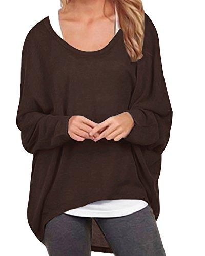 ZANZEA Damen Lose Asymmetrisch Jumper Sweatshirt Pullover Bluse Oberteile Oversize Tops Kaffee EU 36/Etikettgröße S