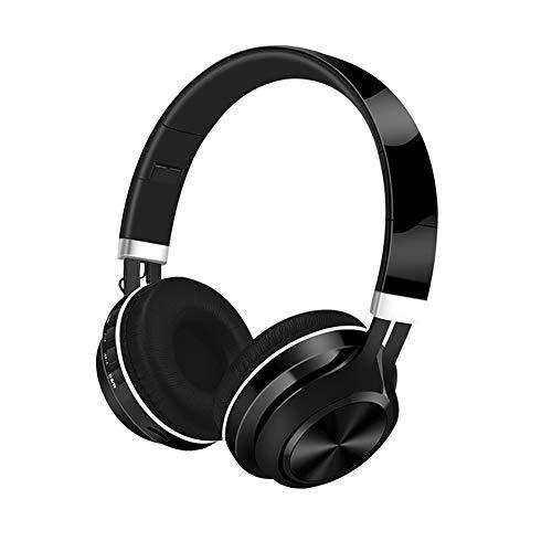 JRJQ Le Bluetooth 5.0 Pliables Ecouteurs, Stéréo Casques En Mode Sans Fil Et Filaire Temps De Jeu De 10 Heures Léger Écouteurs Sans Fil-Noir -