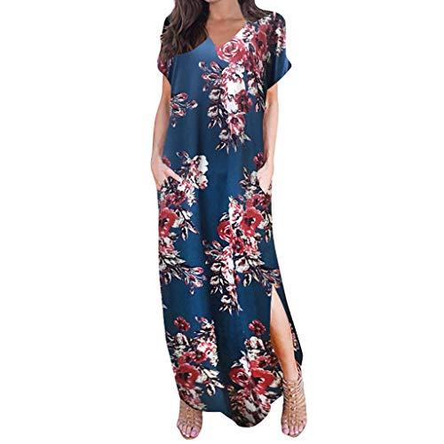 WooCo Damen Sommer Kurzarm Loose Plain Beiläufig Lange Maxi Kleider - Blumenkleider V-Ausschnitt Strandkleider Maxikleider Sommerkleider mit Taschen 14 Farbe(EIN blaues,M)
