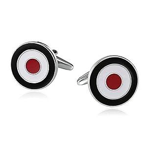 Daesar Schmuck 1 Paar Herren Edelstahl Manschettenknöpfe Bullseye-Runde Schwarz Weiß Rot Hochzeit Cufflinks