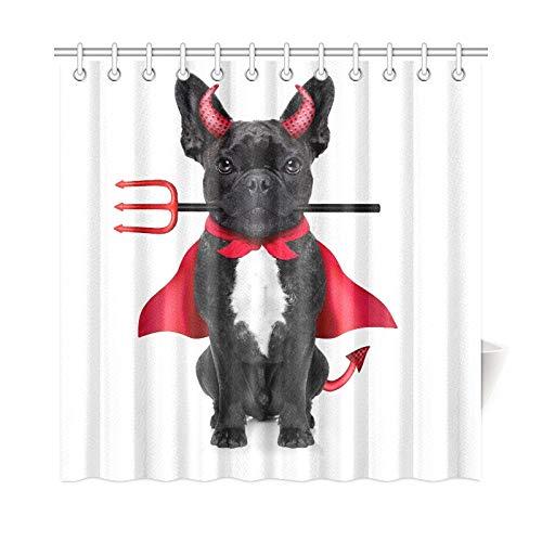 JOCHUAN Wohnkultur Bad Vorhang Halloween Hexe Französische Bulldogge Hund Gekleidet Polyester Stoff Wasserdicht Duschvorhang Für Bad, 72X72 Zoll Duschvorhang Haken Enthalten