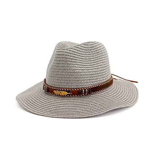 JIGAN Panama Sommer Fedora Stroh Sonnenhüte für Männer Safari Strand Hut - faltbar,Gray Safari Panama