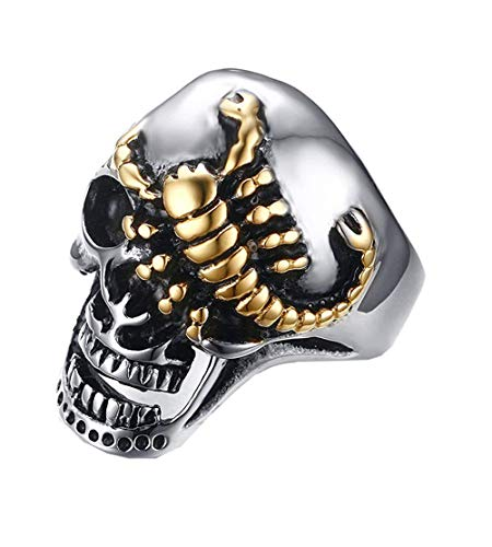 XBYBEI Herrenschmuck Halloween Kostüme Gold Scorpion Schädel Ring (Ideen Halloween-kostüm Teens)