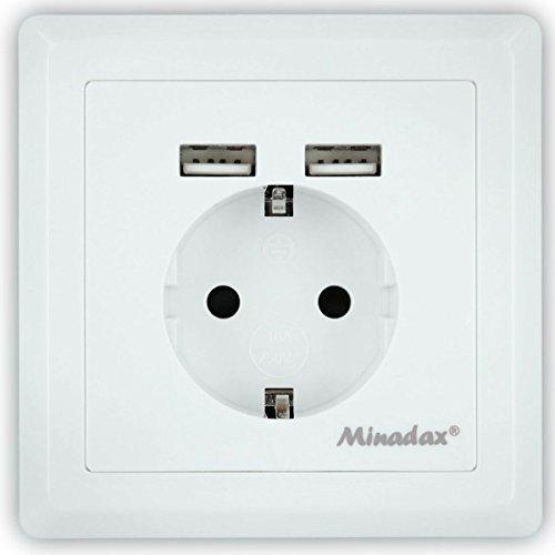 Preisvergleich Produktbild Minadax Schutzkontakt Steckdose 230V 220V mit 2 x USB, Passt in Standard Unterputzdose, Laden aller mobilen Geräte Ipod Iphone Ipad Smartphone MP3 unterputz