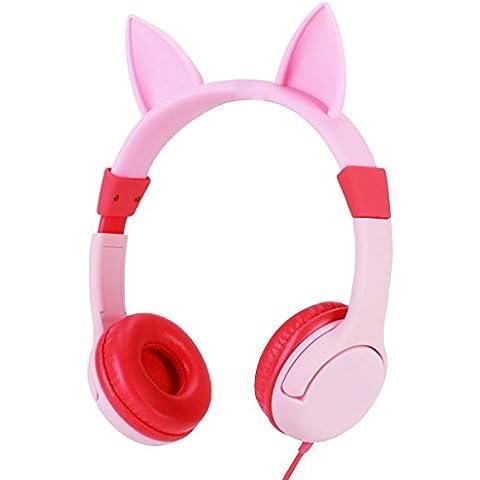 Auriculares para niñas, LOMATEE cascos auriculares estéreo infantiles con limitador de volumen a 85 dB orejas de gato