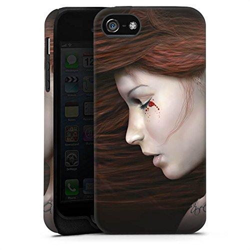 Apple iPhone 5 Housse Étui Silicone Coque Protection Femme Femme Sang Cas Tough terne