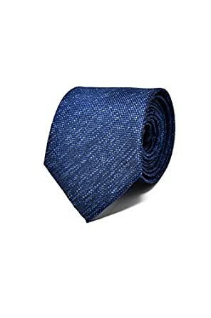 Dark Blue Men's Tie - 100% Silk - Classic, Elegant and Modern - (Ideal for a gift, a wedding, with a suit, at work .)