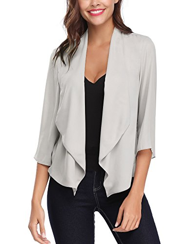 Abollria donna cardigan corto primavera coprispalle elegante con maniche 3/4 lunghezza giacca sottile per estate autunno (s, grigio)