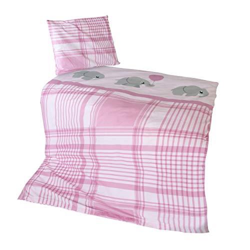 �sche Kinderbettwäsche Elefant 100% Baumwolle in Rosa - Baby & Kinder Bettwäsche-Set aus Deckenbezug 100x135 cm Kissenbezug 40x60 cm - Bedruckter Bezug mit Reißverschluss ()