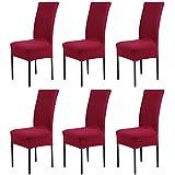 LianLe® 6pcs Fundas para sillas, fundas elásticas, cubiertas para sillas,color rojo-vino