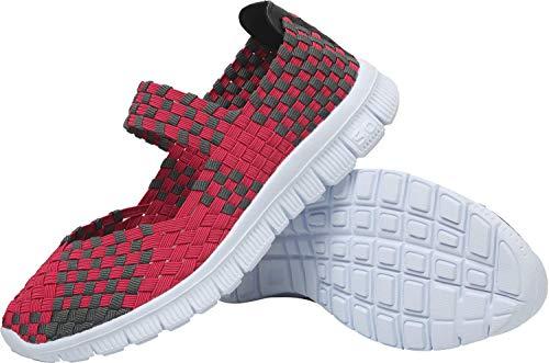 L-Run - Slip Casual de Verano para Mujer en Zapatos con Elástico Ligero Entrelazado Rojo EU39