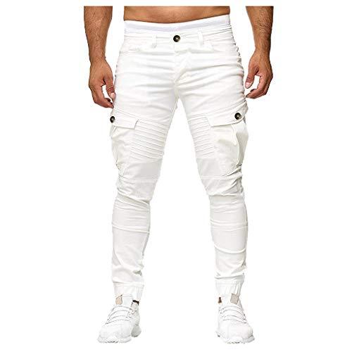 männer nehmen Sport gesponnene Taschen nähende Fuß Hosen ab Fashion Personality Casual Sports Pants Woven Pocket Stitching Trousers Khaki Weiß Schwarz Grau S/M/L/XL/XXL/3xL - Transfer Bermuda